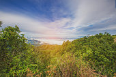 Blured Mountain forest landscape and cloudy