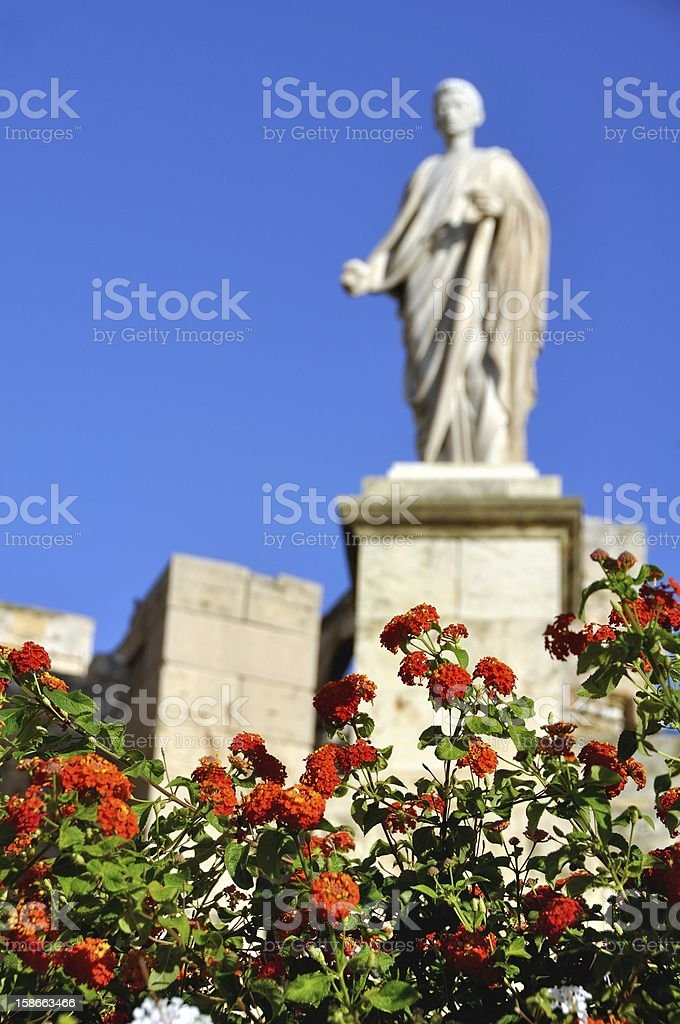 Blured Statue with Red flowers at the forefront royalty-free stock photo
