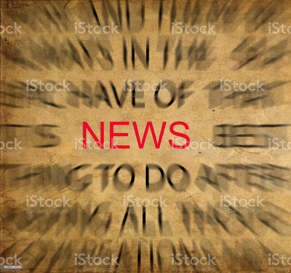 Blured text on vintage paper with focus on NEWS stock photo