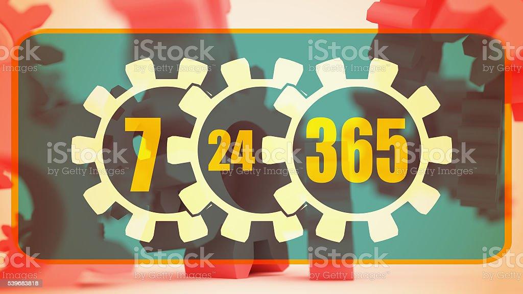blurred 3d cogwheels levitation. 7-24-365 time operation mode stock photo