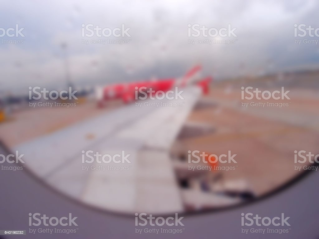 Blurred abstract background aeroplane view outside window at air stock photo