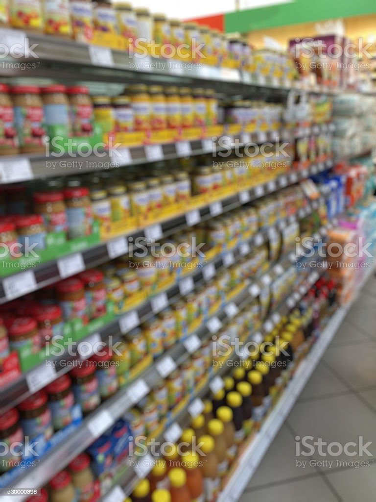 Blurred abstract background inside grocery store/ supermarket stock photo