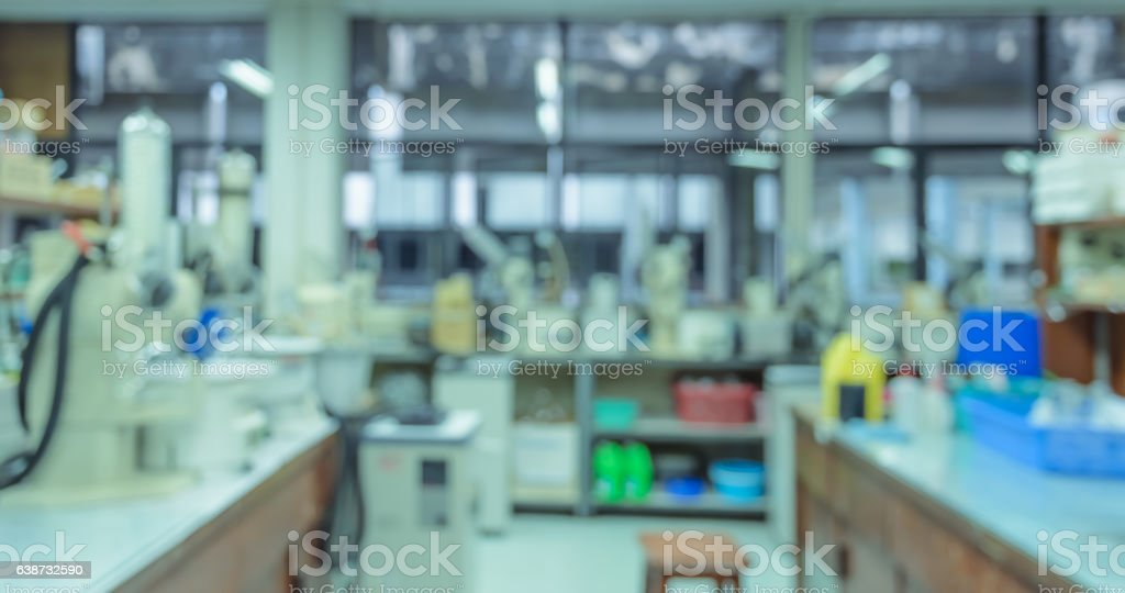 Blurred abstract background of laboratory interior workplace wit stock photo