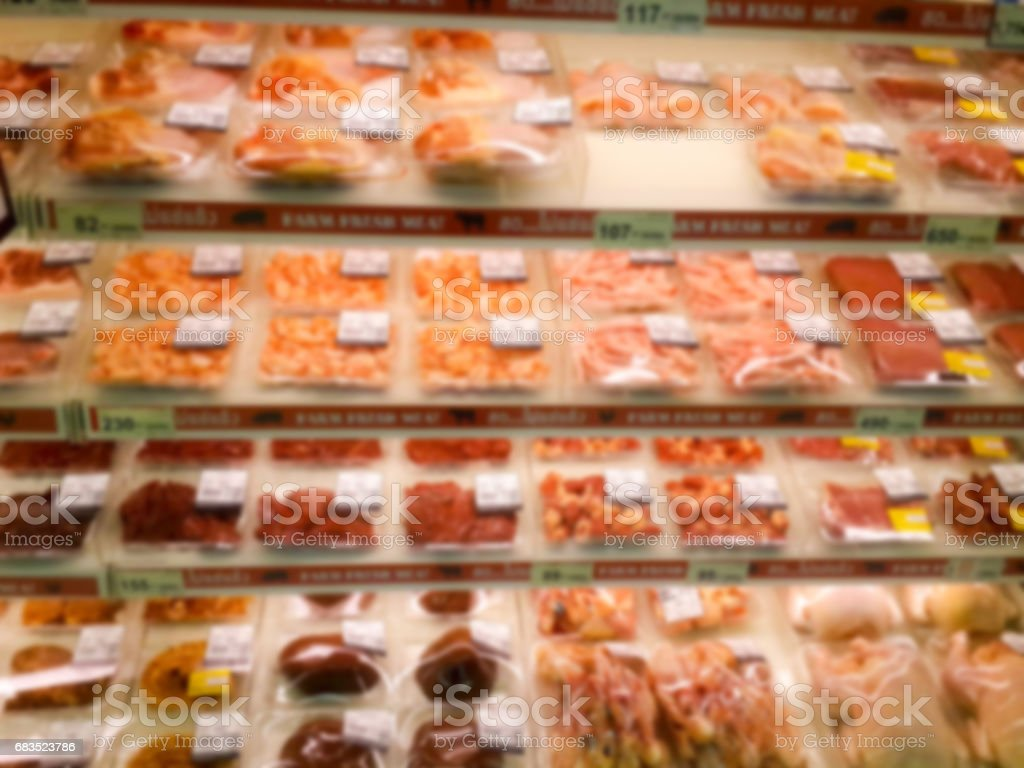 Blurred abstract background of shelf in supermarket stock photo