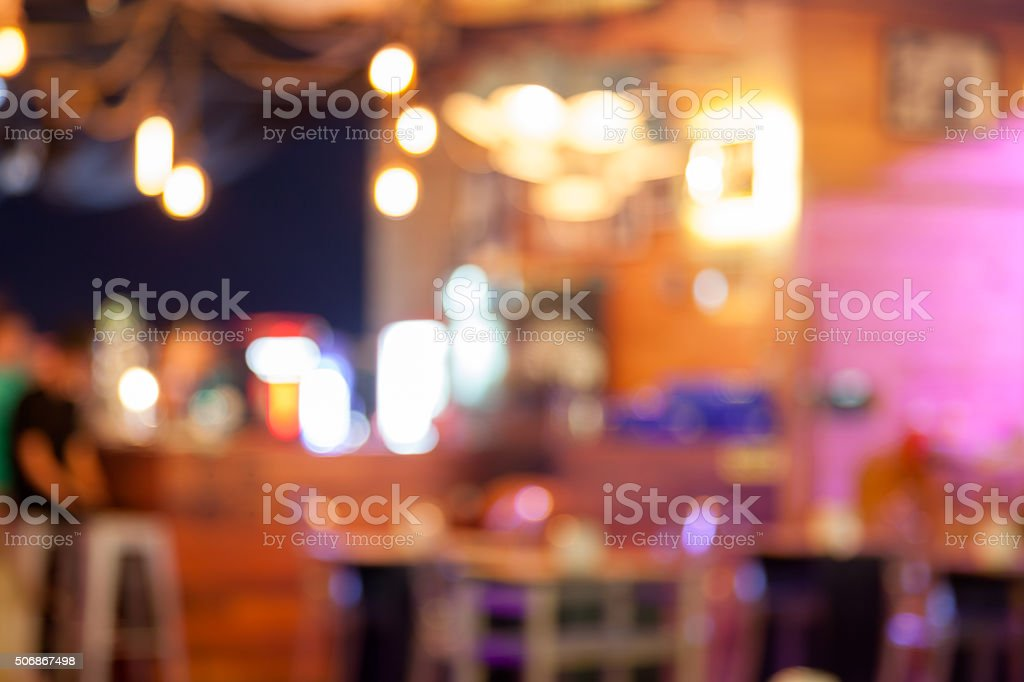 Blurred background – bar and restaurant at night stock photo