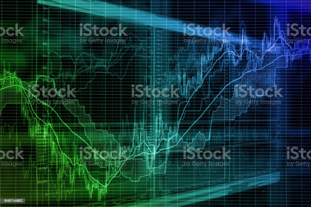 Blurred background based on stock market graphs on the screen stock photo