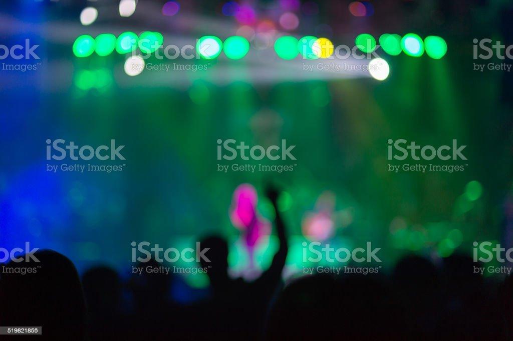 Blurred background : Bokeh lighting in outdoor concert stock photo