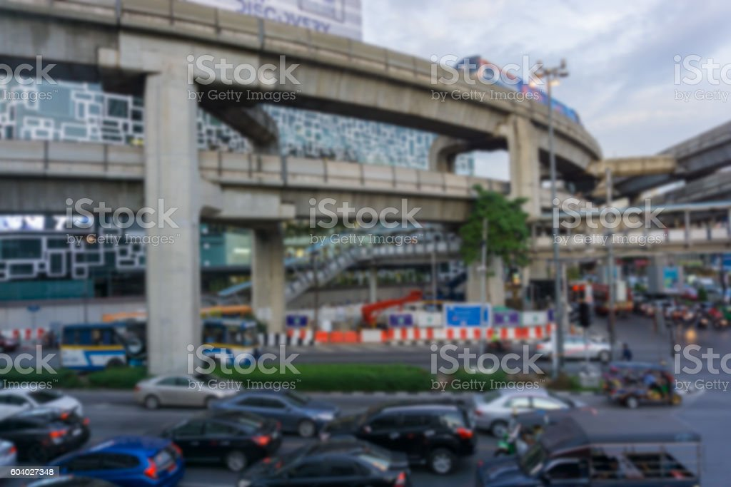Blurred background .Busy traffic at Pathum Wan Intersection stock photo