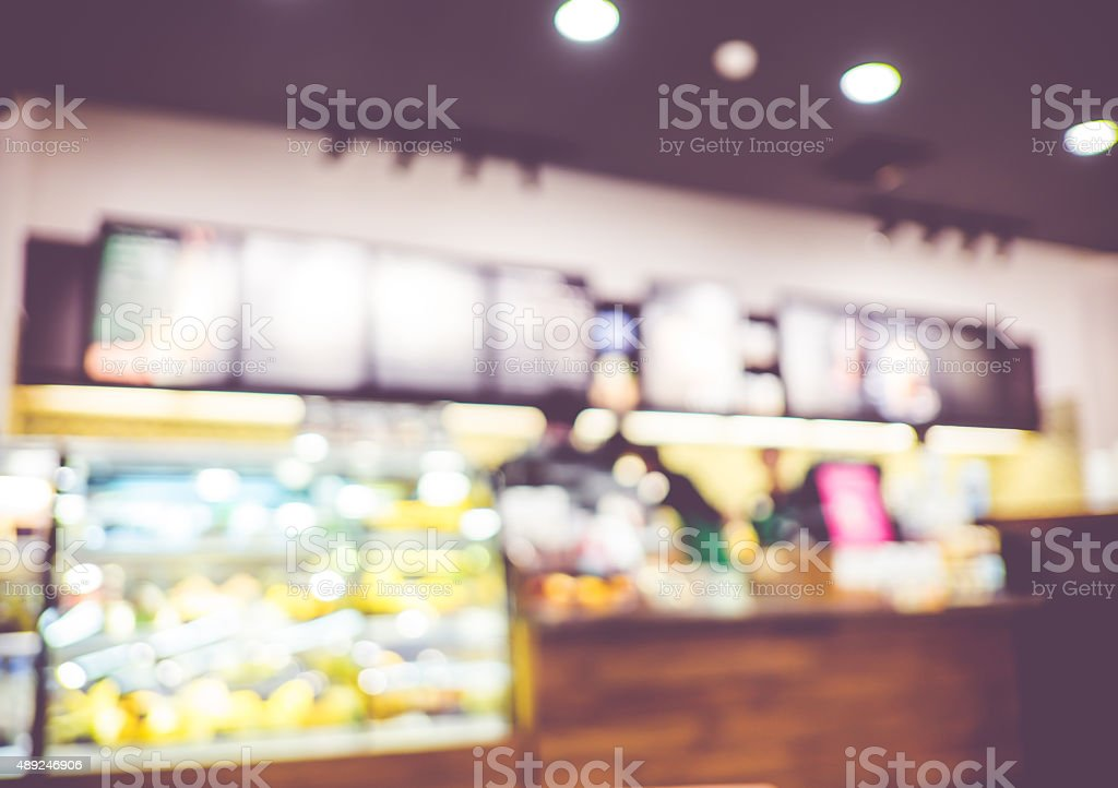 Blurred background : inside of Coffee shop blur background with stock photo