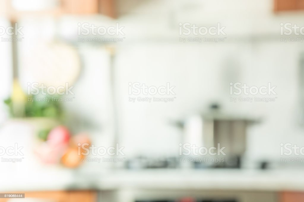 Blurred background. Modern kitchen with bokeh light. stock photo