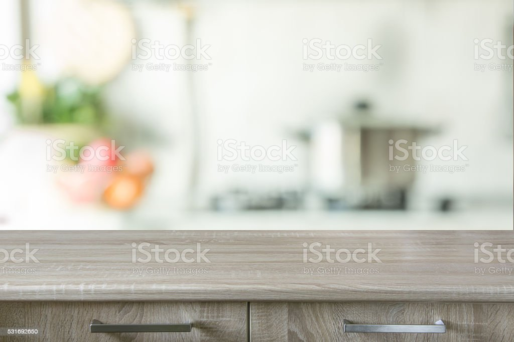 kitchen table background. kitchen table background empty white and blurred store with bokeh pictures