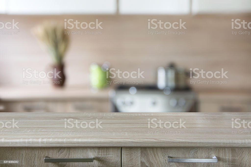 Modern Kitchen Background blurred background modern kitchen with tabletop and space for you