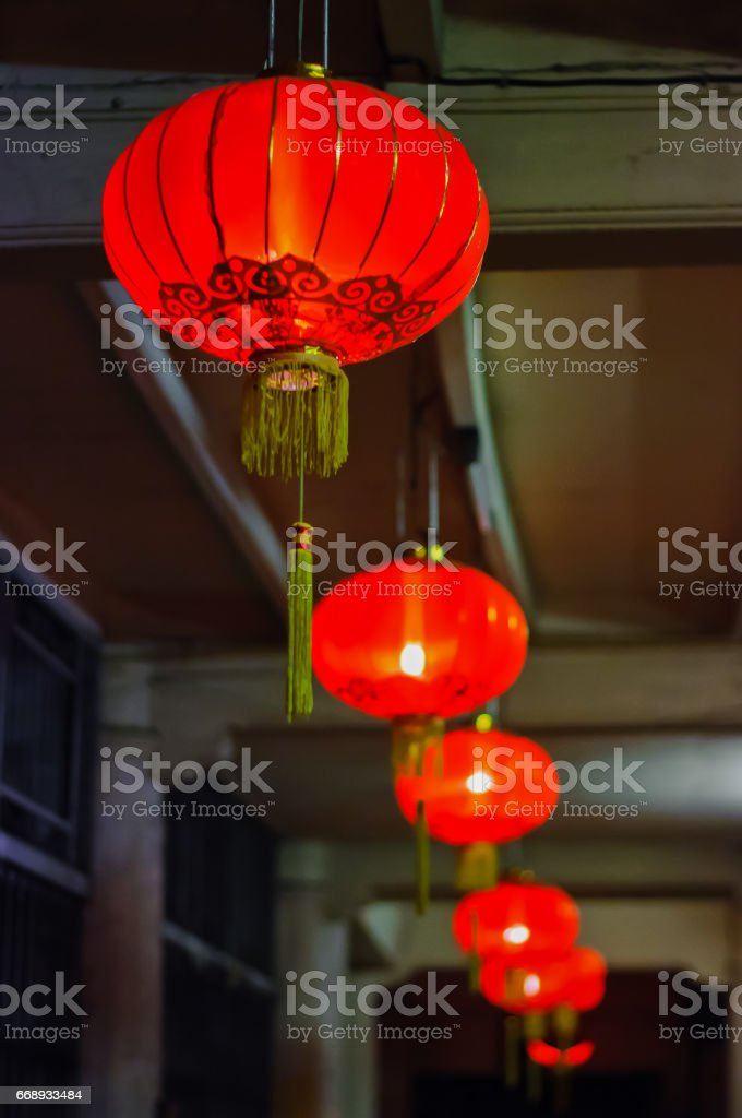 Blurred background of red paper lantern decoration stock photo