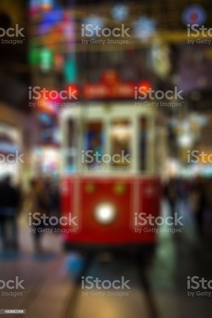Blurred background of the iconic red tram in Istanbul stock photo