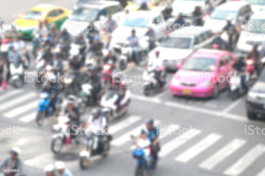 Blurred background of traffic jam. stock photo
