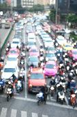 Blurred background of traffic jam.