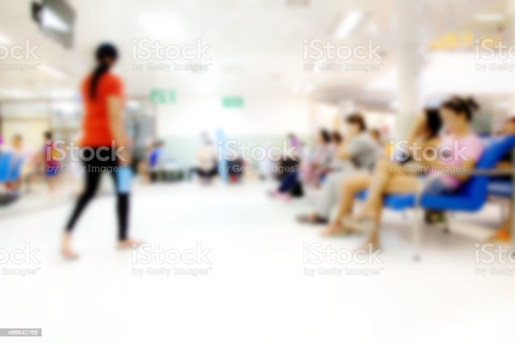 Blurred background Patient waiting for see doctor, abstract back stock photo
