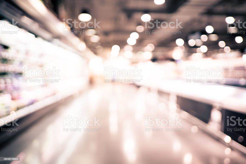 Blurred background : Supermarket store blur background with boke stock photo