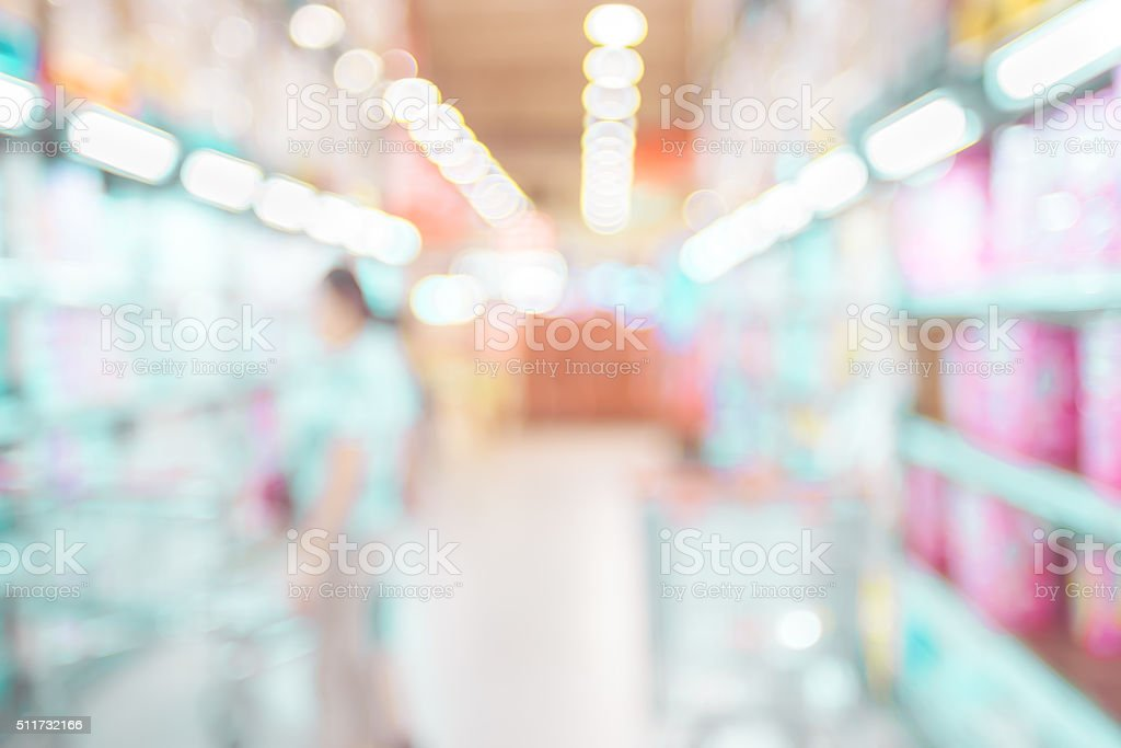 Blurred background: supermarket store with bokeh light backgroun stock photo
