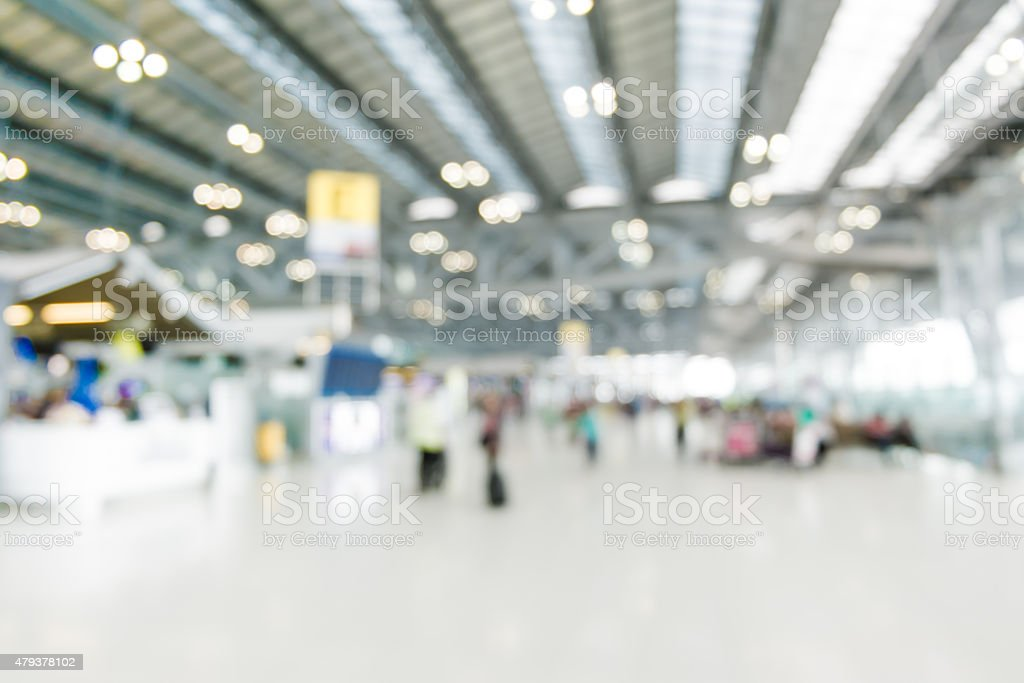 Blurred background : Traveler at airport terminal blur backgroun stock photo