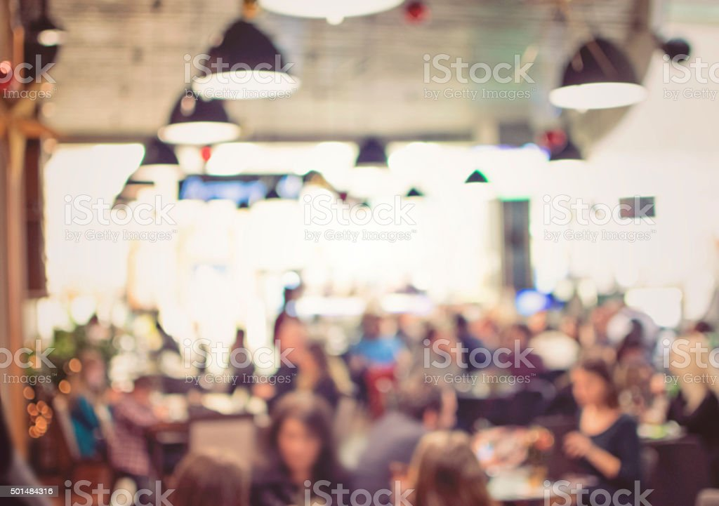 Blurred background : Vintage filter ,People in Coffee shop blur stock photo
