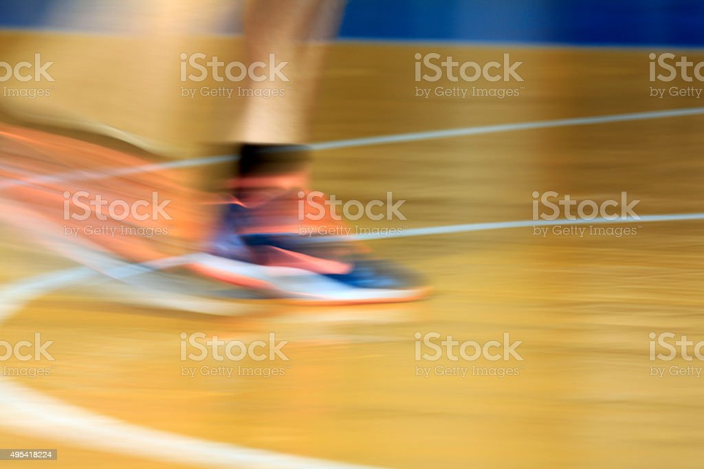 Blurred background with orange laces of sneakers stock photo