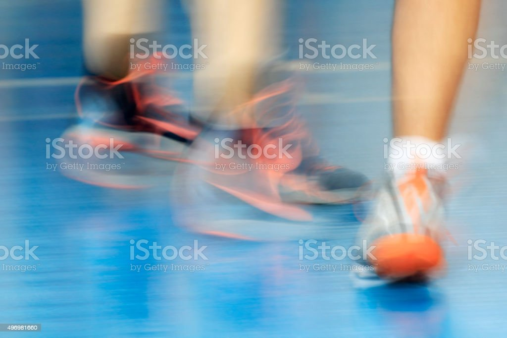 Blurred background with red laces of sneakers stock photo