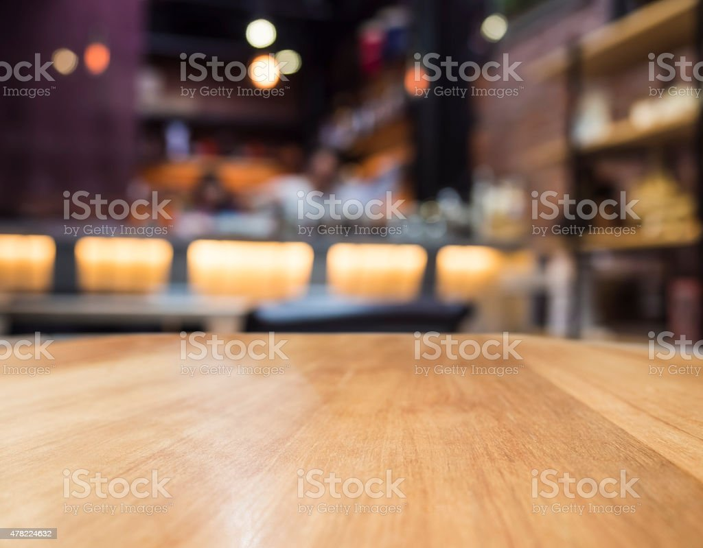 Blurred bar restaurant with Table top counter stock photo