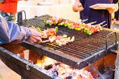 Blurred barbecue BBQ pork onion green pepper grill