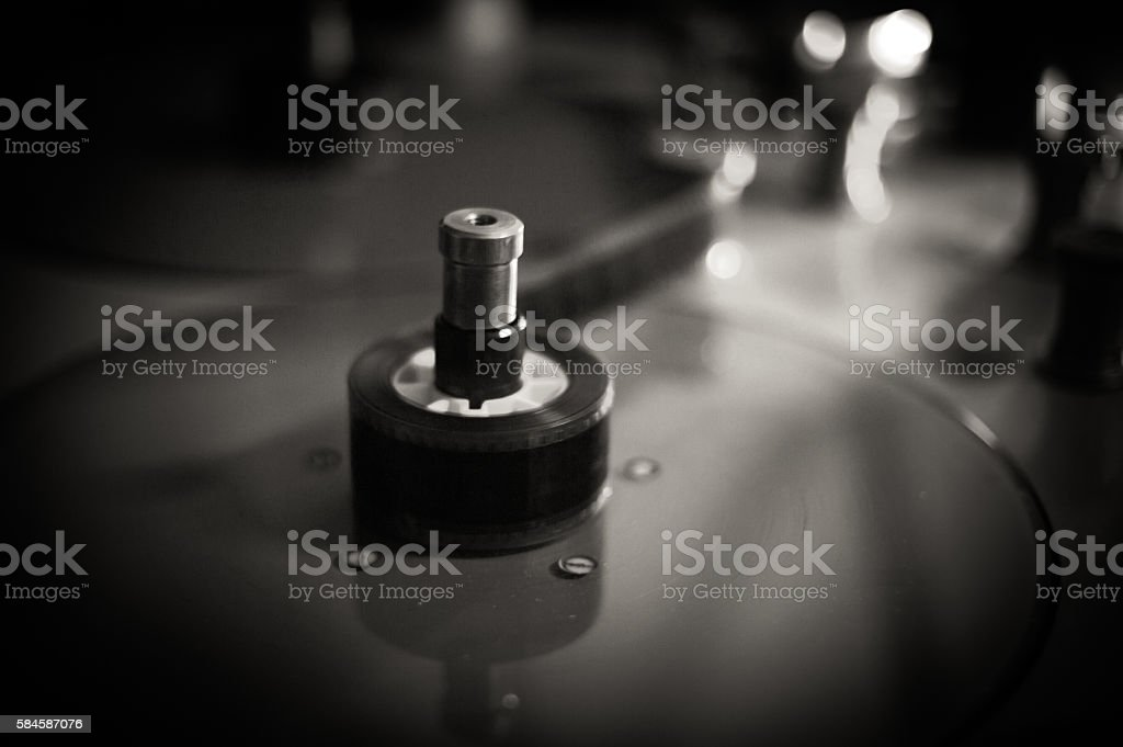 Blurred black and white movie editing reel plate stock photo