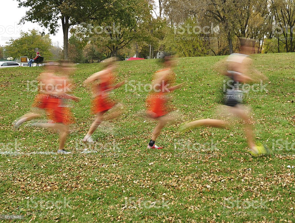 Blurred Boys Cross Country Runners stock photo