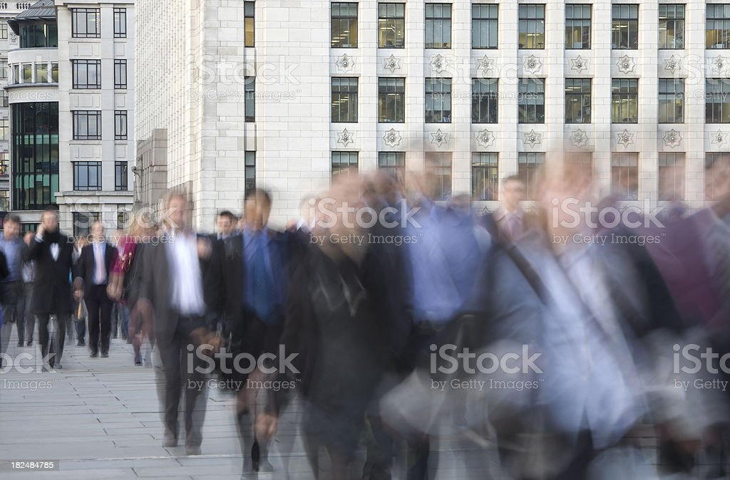 Blurred Business People Walking to Work royalty-free stock photo