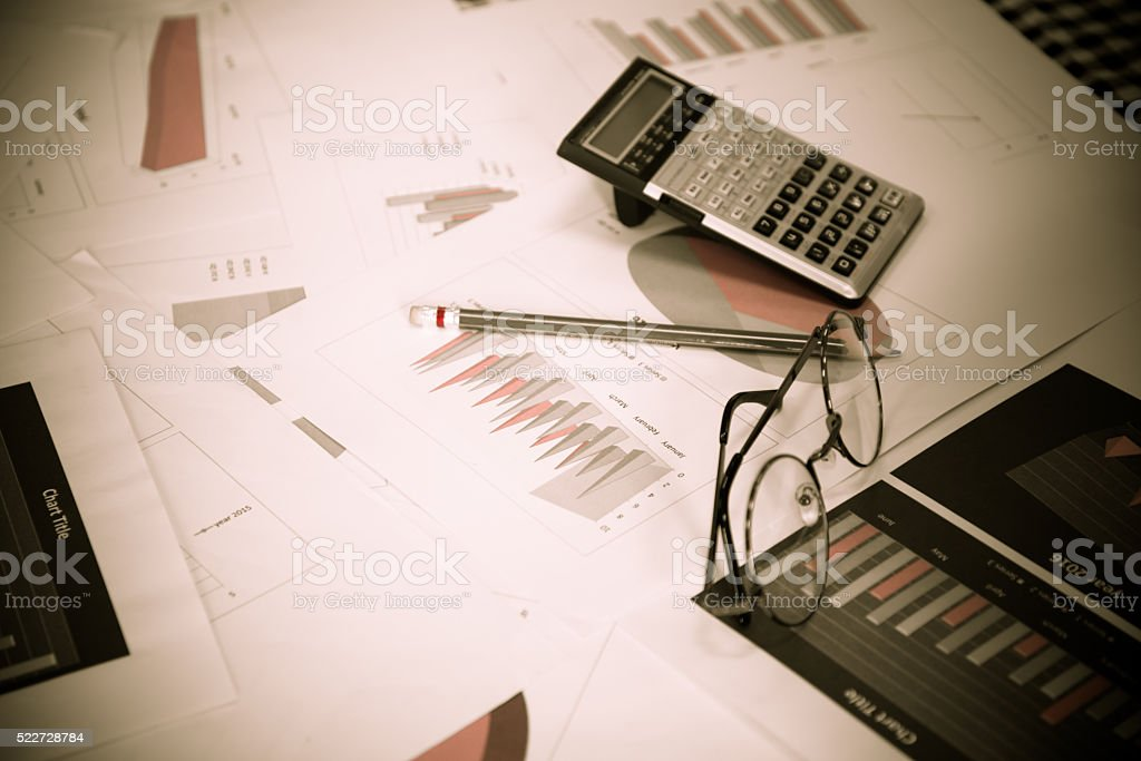 Blurred business work space in Dark tone. stock photo