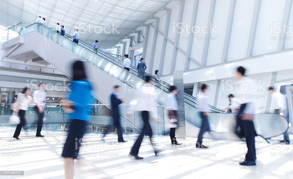 Blurred businesspeople in motion in Hong Kong stock photo