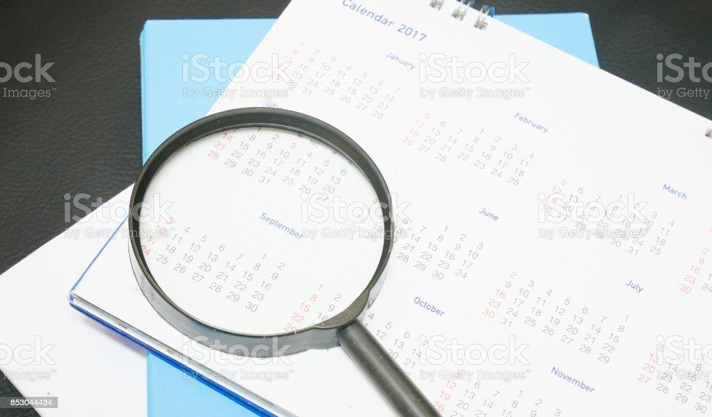 Blurred calendar in white tone. stock photo