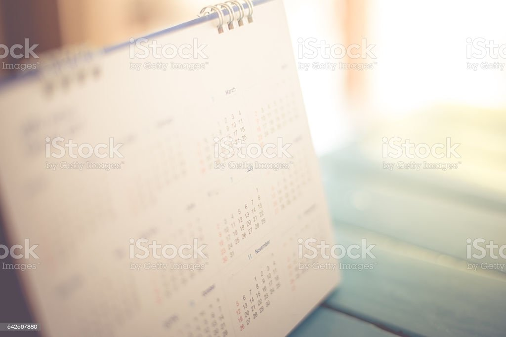 Blurred calendar page pastel tone stock photo