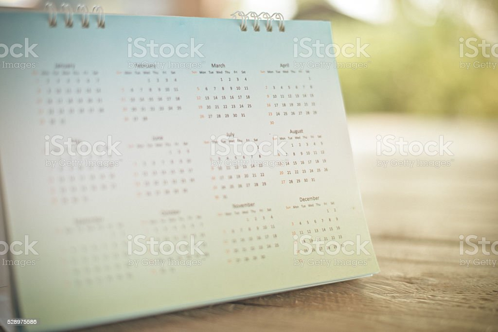 Blurred calendar page stock photo