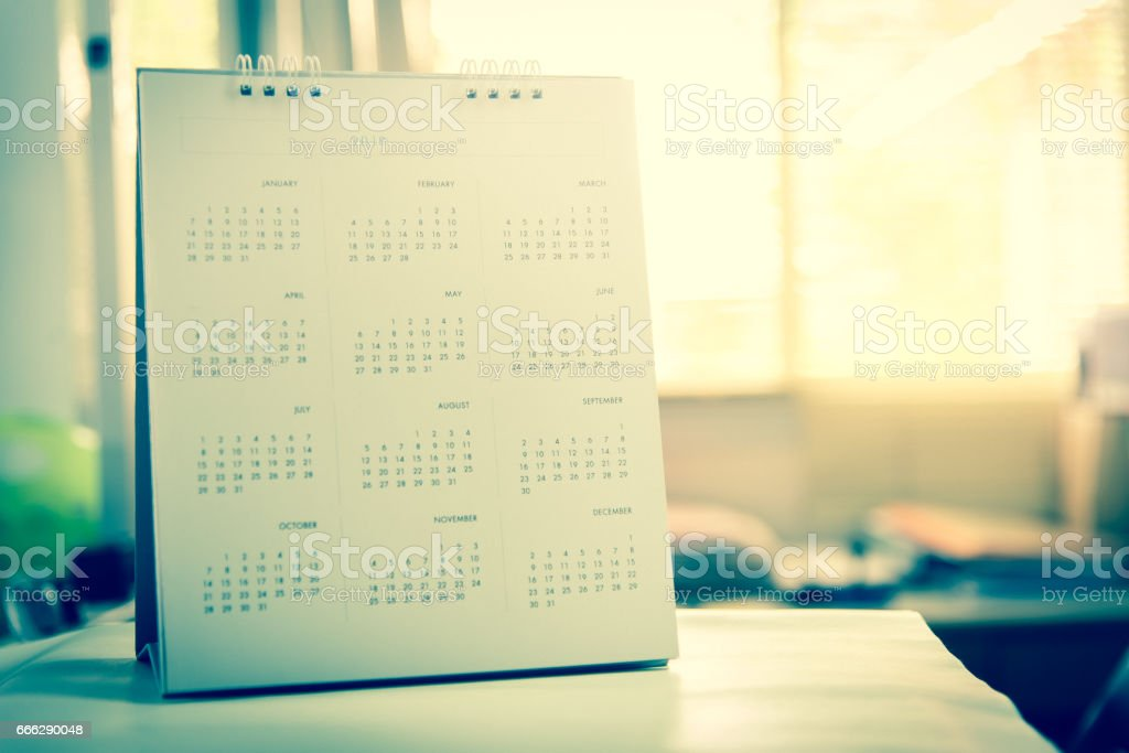 Blurred calendar page. stock photo