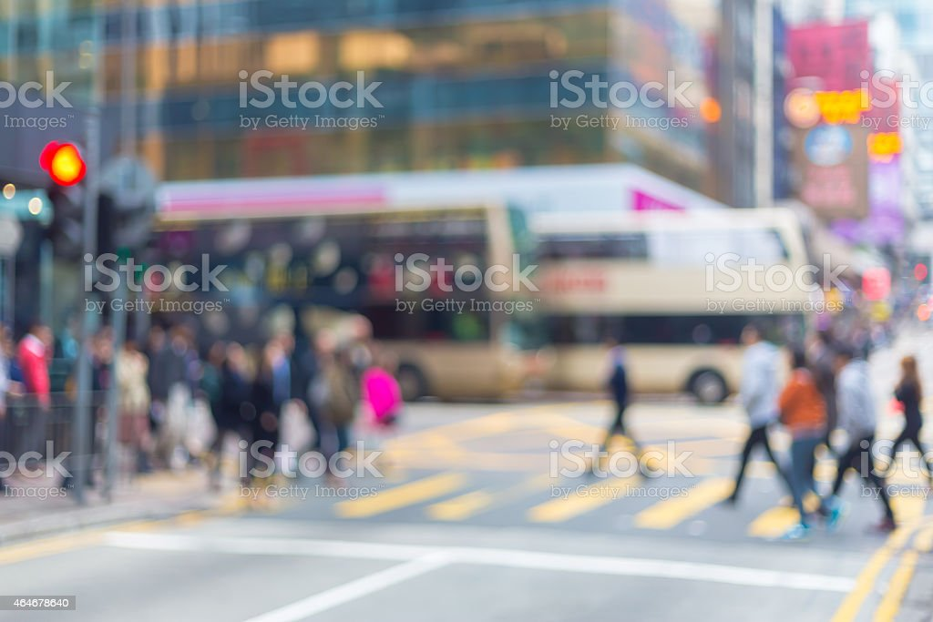 Blurred city background - people in Hong Kong central district stock photo