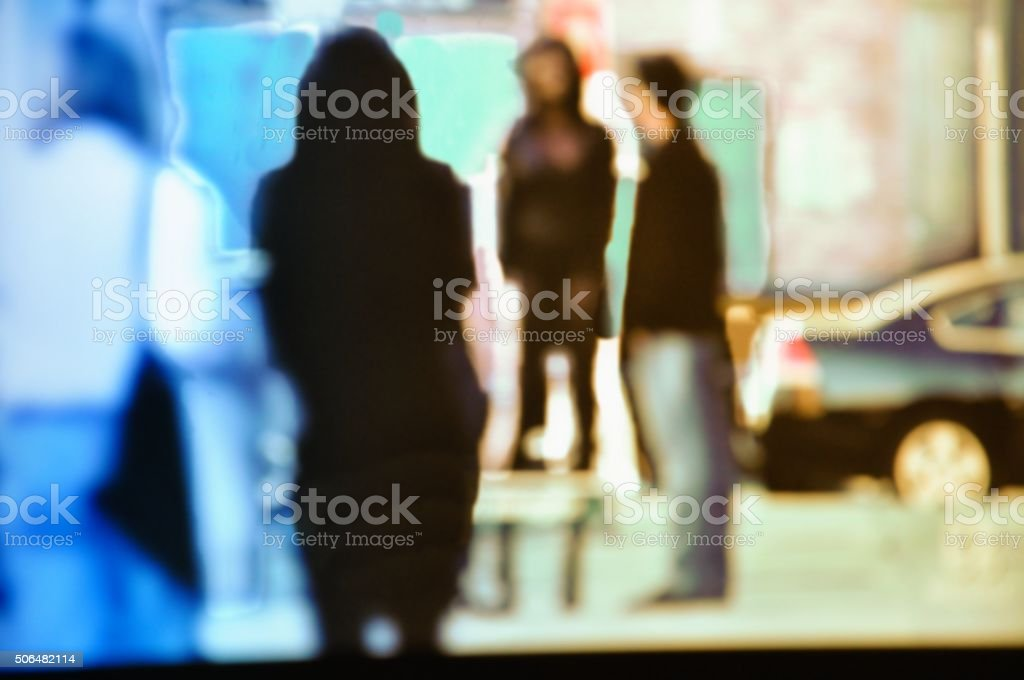 Blurred city business people walking in the street. Urban scene. stock photo