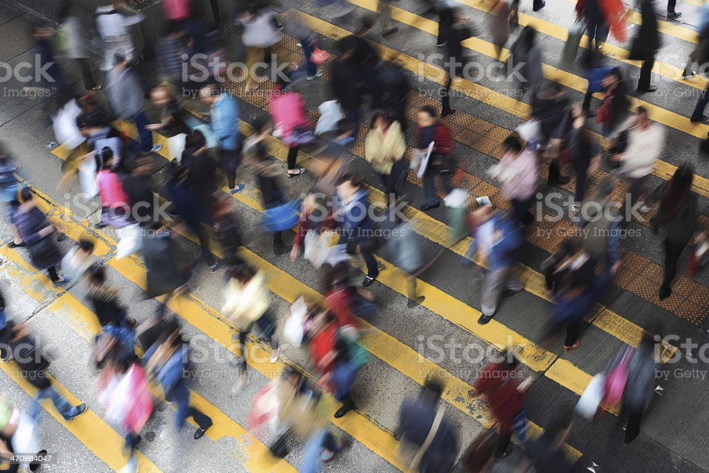 Blurred city life, people walking up and down the stairs royalty-free stock photo