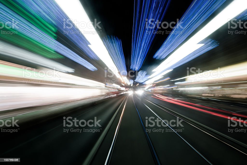 Blurred city lights at high speed royalty-free stock photo