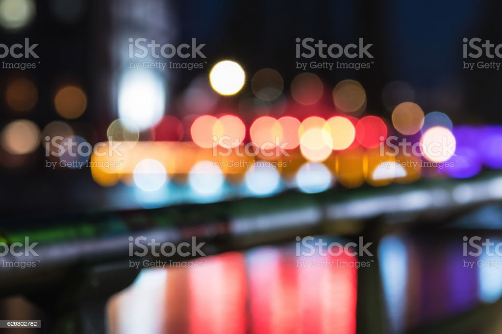 blurred city lights over berlin river stock photo
