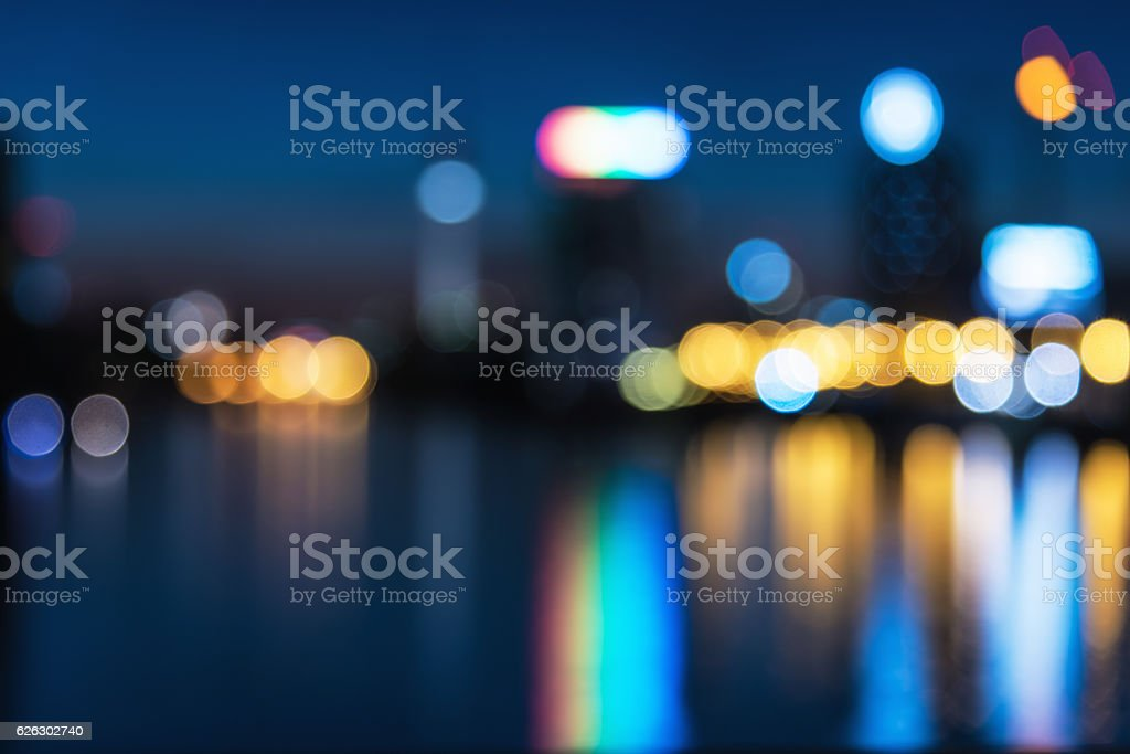blurred city lights over berlin river with view on tv-tower stock photo