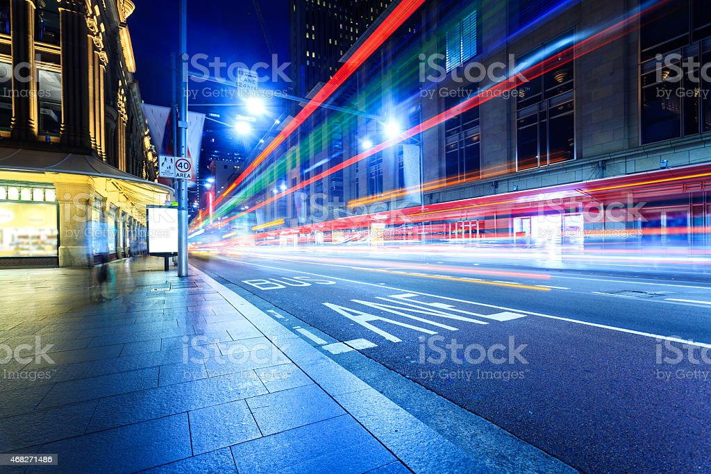 Blurred city traffic on a busy street in Sydney stock photo