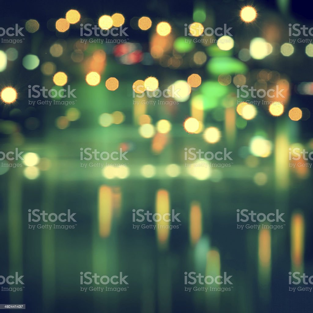 Blurred cityscape background with bokeh effect. stock photo