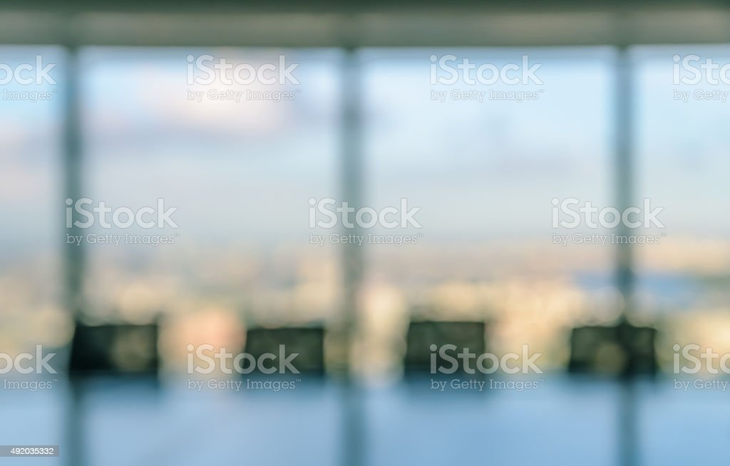 Blurred conference room for background stock photo
