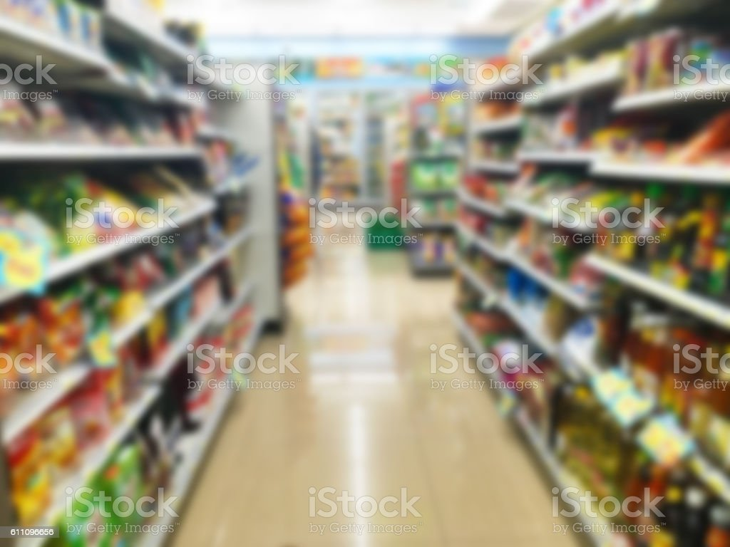Blurred convenience store stock photo