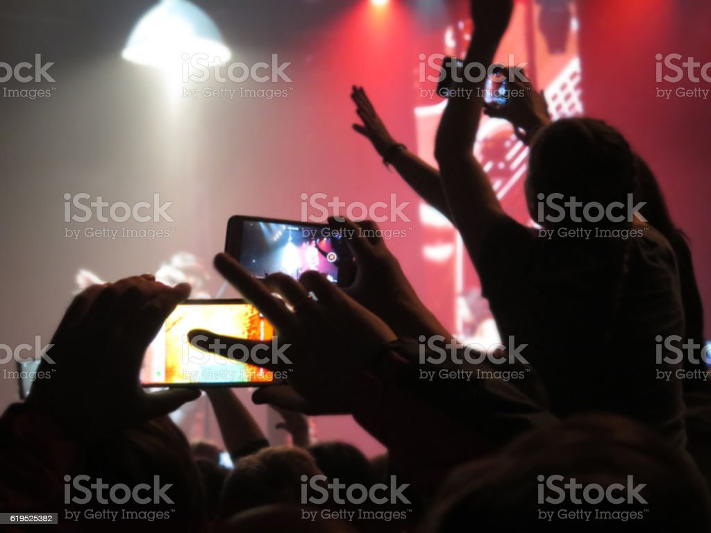 blurred Crowd during entertainment concert fun zone people stock photo