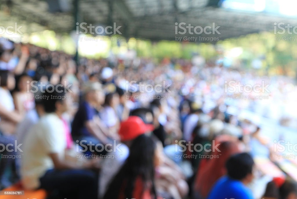 Blurred crowd in a stadium stock photo